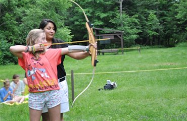 Archery at Away Camp for Girls, Adirondacks NY