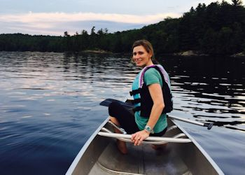 Sandy Abbott Canoeing at Camp Jeanne d'Arc All Girls Camp