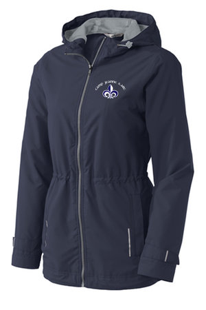 Water-proof Women's Camp Jeanne d'Arc blue fitted slicker with heather grey interior