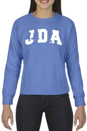 Dyed, ladies, crewneck sweatshirt in blue with JDA across front, center in white