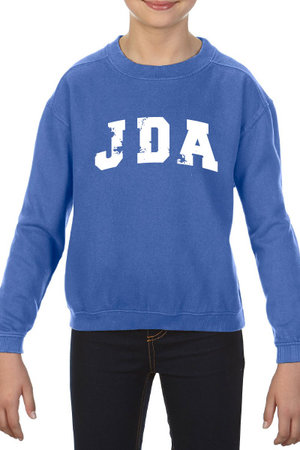 Dyed, youth, crewneck sweatshirt in blue with JDA across front, center in white