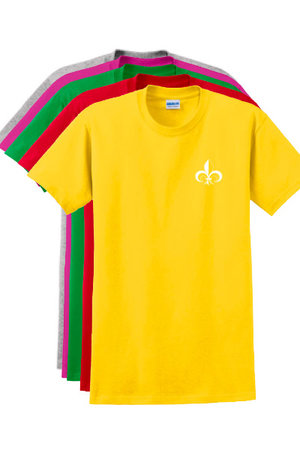 Grey, pink, green, red, and yellow 100% cotton unisex, t-shirt with white CJDA logo