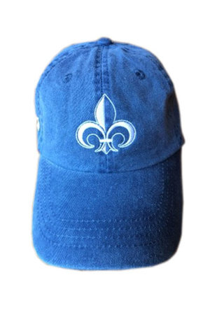 Pigment-dyed blue baseball camp with white Camp Jeanne d'Arc embroidered icon