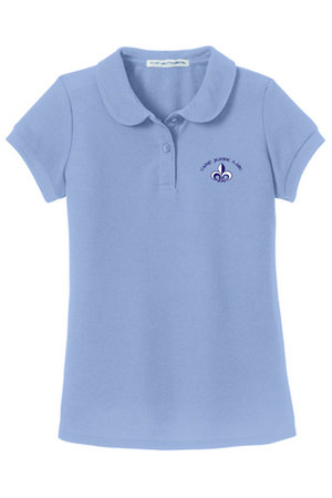 Girls silk touch, peter-pan collar polo with embroidered CJDA logo on left side
