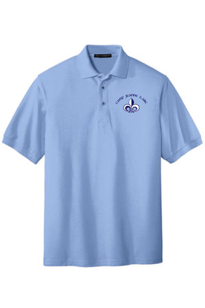Adult silk touch, polo with embroidered CJDA logo on left side