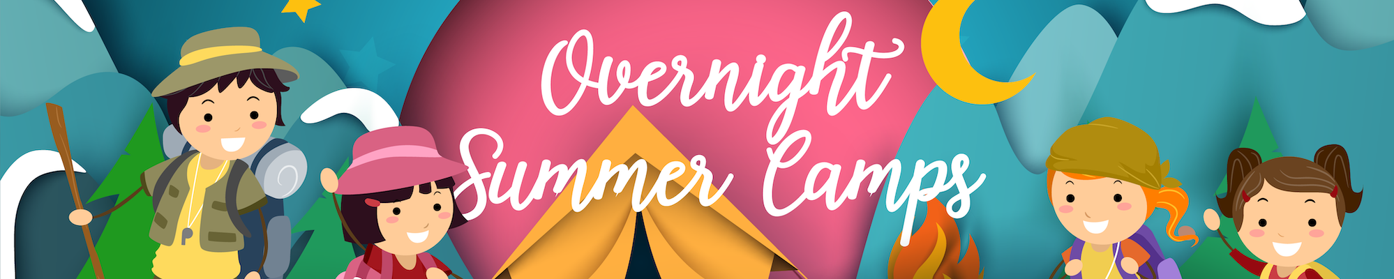 Overnight summer camps illustration