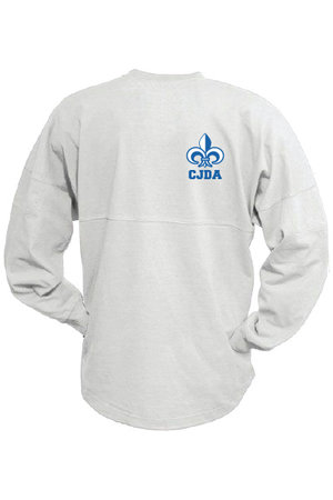 Go Les! White, adult, long-sleeve billboard crew pullover