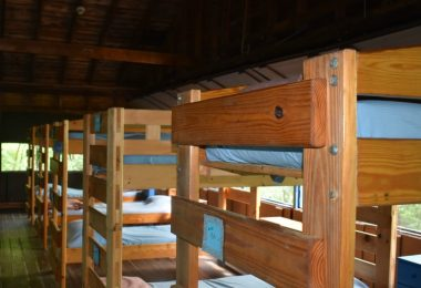 Up close view of the Oriole Cabin bunk bed structures and hardware