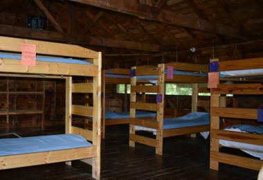 Sleeping quarters within the Owl Cabin at Camp Jeanne d'Arc in New York