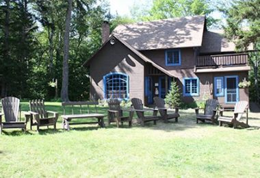 Outdoor gathering area, in front of the Chalet (Office) in upstate New York