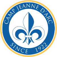 Camp Jeanne d'Arc logo with golden yellow outline