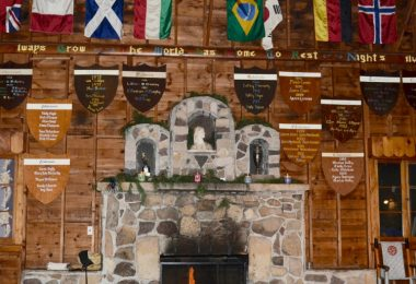 The Hearth, interior fireplace and wood shields accenting the walls