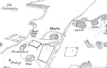 Black and white map, illustrating Camp Jeanne d'Arc